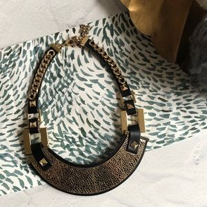BCBG Statement Black Gold Filigree Collar Necklace